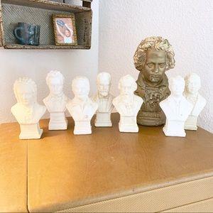 Vintage Set Stone Composer Busts Statues Decor